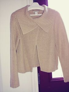 TWEEDS-L-BEIGE-100-CASHMERE-THICK-SWEATER-CARDIGAN-SHAW-COLLAR-KNIT-XCELL-COND