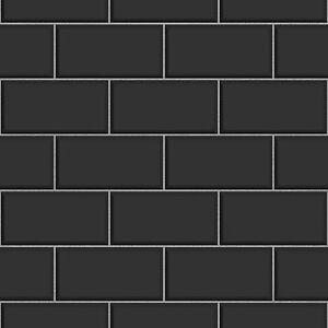 Ceramica Brick Tile Black Kitchen And Bathroom Wallpaper
