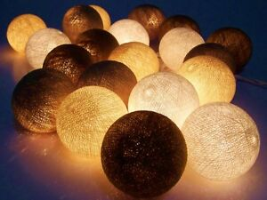 guirlande lumineuse 20 grand boules de coton 7 cm travail manuel ebay. Black Bedroom Furniture Sets. Home Design Ideas