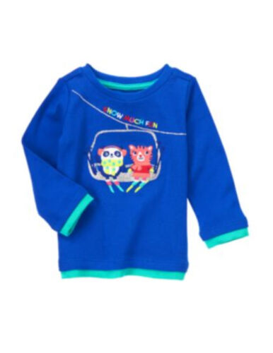 """NWT Gymboree girl 2T blue /""""snow much fun/"""" top shirt COLOR HAPPY b83,85,86,84"""