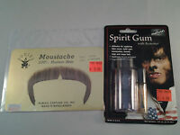 Lt Brown Zapata Moustache W/ Adhesive Combo 70's 80's 100% Human Hair Style2016