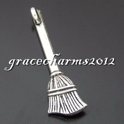 Antique Silver Alloy Brooms Pendants Charms Crafts Jewelry Findings 12pcs
