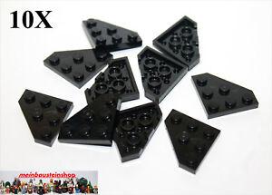 10X-Lego-2450-Eck-Platten-Diagonal-Wedge-Corner-3X3-Schwarz-Black-NEU