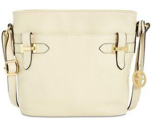 bbfcf09aaac2 Giani Bernini NWT  129 Pebble Leather Ivory Crossbody Bucket Bridle ...