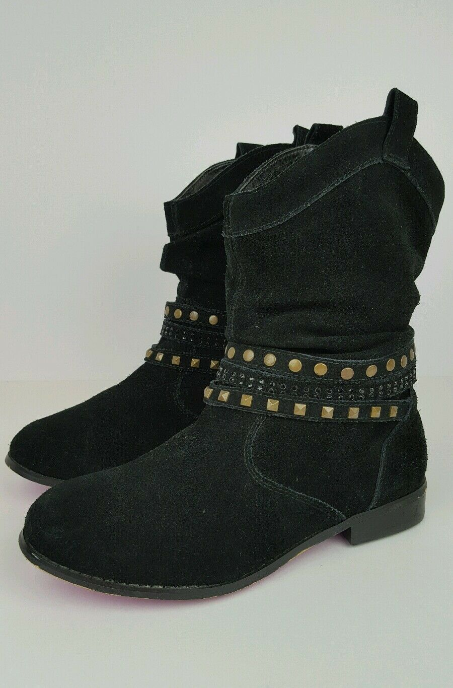"""Twiggy London Women's Size 6.5W Black Suede Studded Riveted 8"""" Booties 964443"""