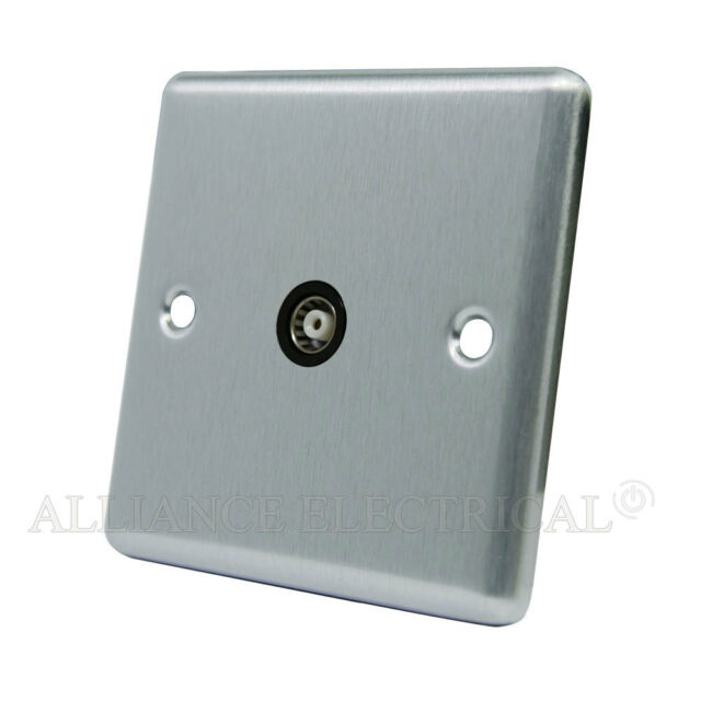 Brushed Satin Chrome Classical 1G TV / Aerial Coaxial Socket  - CSC1GTVBL