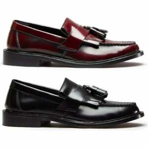 Blakeseys-SCOOTER-Mens-Real-Leather-MOD-Tassel-Penny-Loafers-Black-Oxblood
