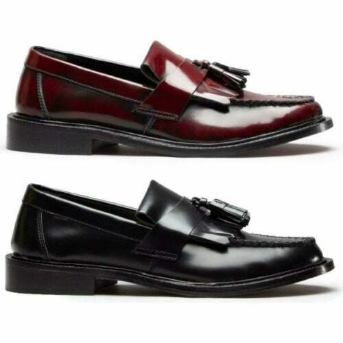 Blakeseys SCOOTER Mens Real Leather MOD Tassel Penny Loafers Black//Oxblood