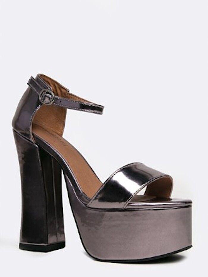 Jeffrey Campbell Metallic argento Platform Open Toe Sandal Sz 8.5  NUOVO  senza esitazione! acquista ora!