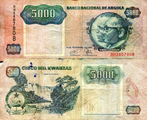 ANGOLA 5000 Kwanza Banknote World Paper Money Currency Pick p130c 1991 VG Grade