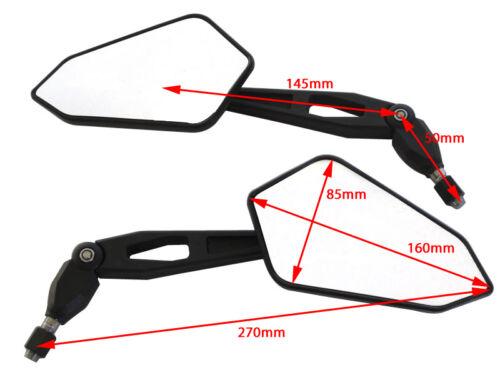 Top Quality Wing Mirrors To fit Honda Transalp 600 650 BLACK PAIR