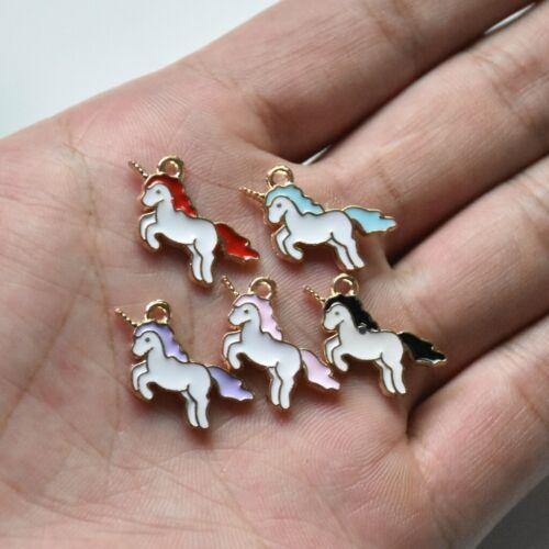 10X Mixed Color enamle licorne poney en Alliage de Zinc Charm Pendentif 21*13mm À faire soi-même Craft