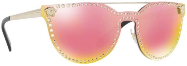 c835d21d13078 Versace VE2177 12524Z Gold Frame Rose Pink Mirror 45mm Lens Sunglasses