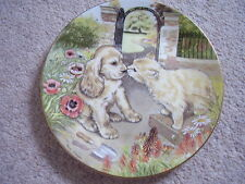 Royal Worcester England Porcelain cat-dog plate, Goodbye Kiss