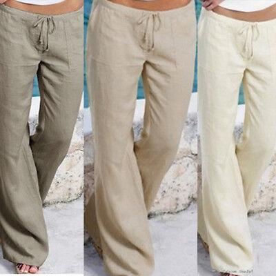 high quality guarantee aliexpress more photos Womens Summer Beach Pocket Elastic Waist Trousers Long Pants Baggy Wide Leg  Pant | eBay