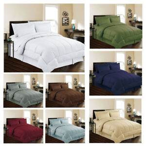 8 piece Bed In Bag Hotel Style Dobby Embossed Comforter Sheet Bed Skirt Sham Set