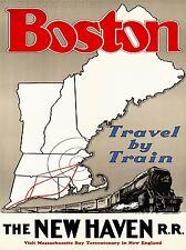ART PRINT POSTER TRAVEL RAIL TRAIN RAILROAD NEW ENGLAND USA NOFL1358