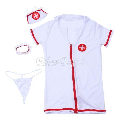 Women Nurse Uniforms Babydoll Lingerie Fancy Dress Outfit Party Costume Cosplay