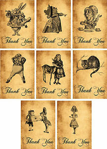 vintage inspired alice in wonderland thank you cards 8 with envelope