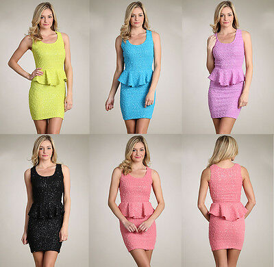 Cocktail Business Party Sleeveless Elegant Sequin Sweet Lady Peplum Dress S/M/L