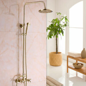 Golden Plated Style Bathtub Faucet Ceramic Handle Handheld Shower
