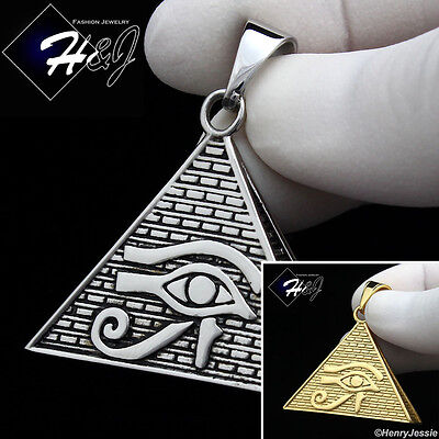 MEN/'s Stainless Steel Silver//Black//Gold Eye of Horus Pyramid Charm Pendant*P89