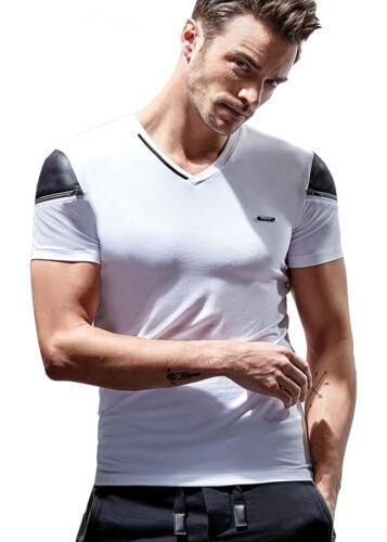 MEN/'S T-Shirt Summer White Short Sleeve V-neck black finishes with zipper on arm