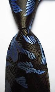 New-Classic-Floral-Brown-Black-Blue-JACQUARD-WOVEN-100-Silk-Men-039-s-Tie-Necktie
