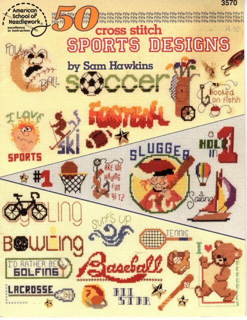 50 Sports Designs Counted Cross Stitch Pattern American School of Needlework