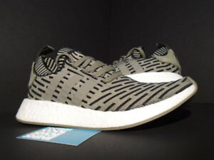 dbd9561fd ADIDAS NMD R2 PK PRIMEKNIT TRACE CARGO OLIVE GREEN CORE BLACK WHITE ...