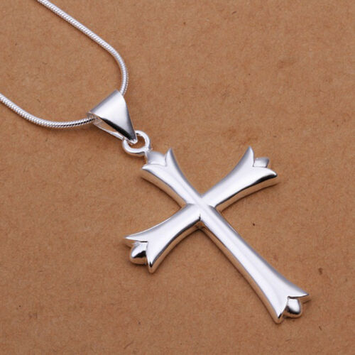 XMAS 925 Sterling Solid Silver Charm Chain Necklace Cross Pendant Link Italy