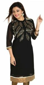Women-Indian-Kurti-Tunic-Black-Fine-Georgette-Designer-Kurta-Shirt-Dress-MD191
