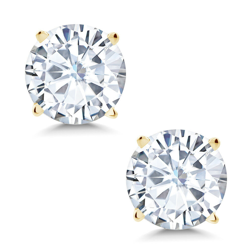 Forever Classic 1.60cttw DEW Created Moissanite Stud Earrings 14K Yellow gold