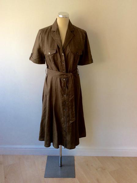 BRAND NEW LAURA ASHLEY BROWN LINEN SHIRT DRESS SIZE 14