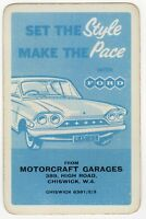 Playing Cards 1 Swap Card Old Vintage FORD CONSUL CLASSIC Car MOTORCRAFT GARAGES