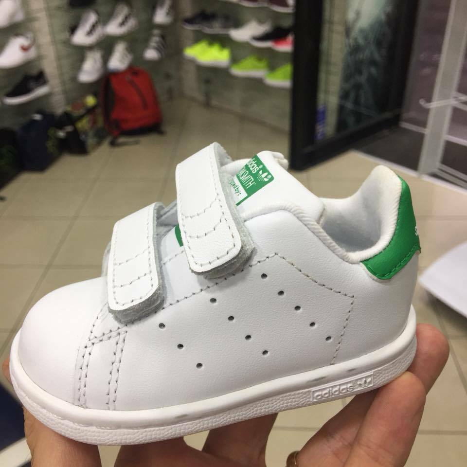 Adidas Orginals Stan Smith Bambino Bambina strappi stretch senza lacci pelle