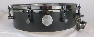 Click-Drums-4x14-Pancake-Tom-Tom-Black-Satin-Oil-W-Black-Chrome-Hardware