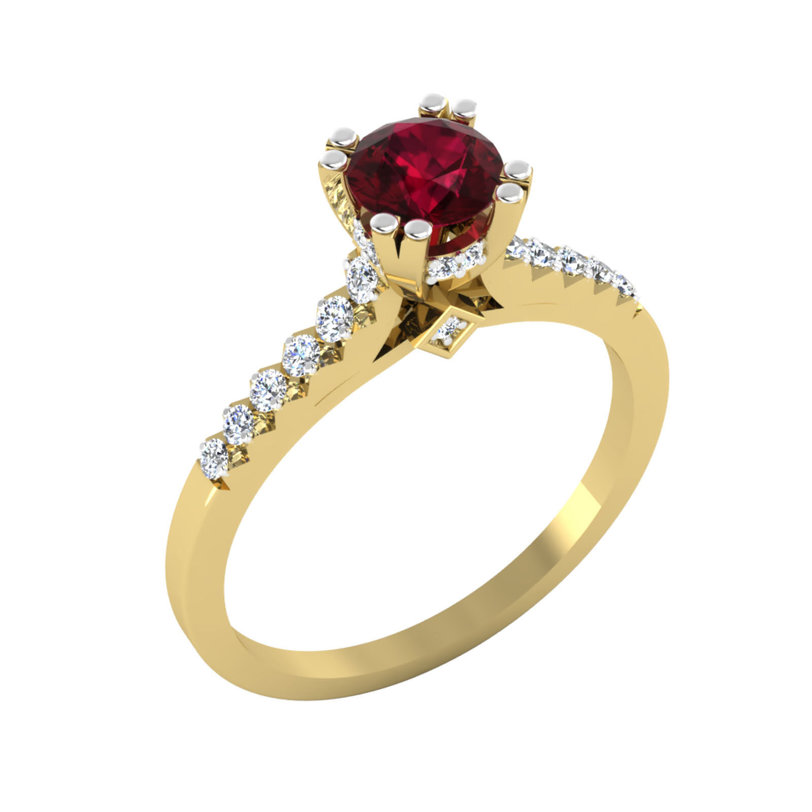 Natural 0.82 Ct Diamond Real Ruby Ring 14K Yellow gold