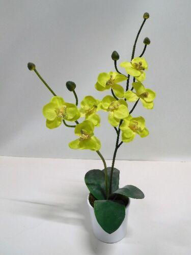 Orchidee Kunstpflanze Seidenblume 2 Rispen grün gelb 50 cm 2060707 getopft F73