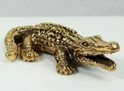Brass Art Crocodile Amulet Miniature Magic Statue Lucky Happy Wealth Powerful