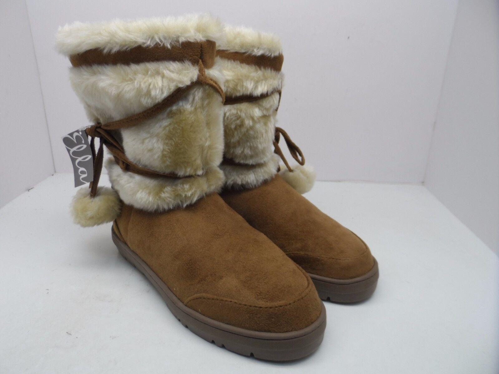 Ella Women's Size Pom Pom Faux Fur Lined Boot Brown Size Women's 6M ee42a8
