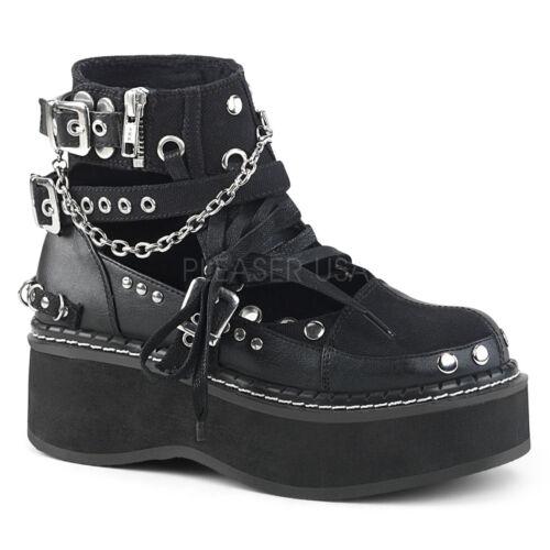 Demonia EMILY-317 Women/'s Black Canvas-Vegan Leather Platform Cut-out Ankle Boot