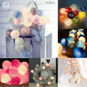 3M-20LED-Colorful-Cotton-Ball-LED-String-Valentine-039-s-Wedding-Party-Fairy-Lights