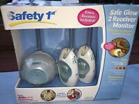 Safety 1st Safe Glow Baby Monitor & 2 Receivers Model 08039 White/blue