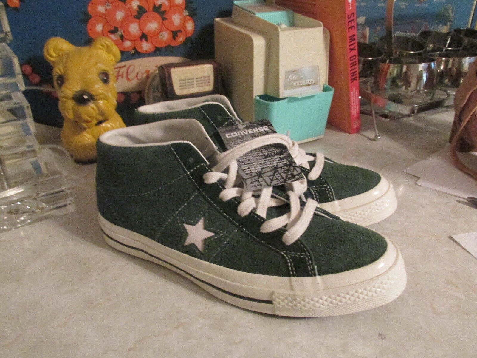 converse one star chuck taylor green mid top sneakers suede men's 7 womens 9