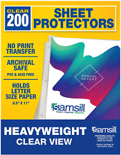 Samsill 200 Pack Heavyweight Clear Sheet Protectors For 3 Ring Binder Archival