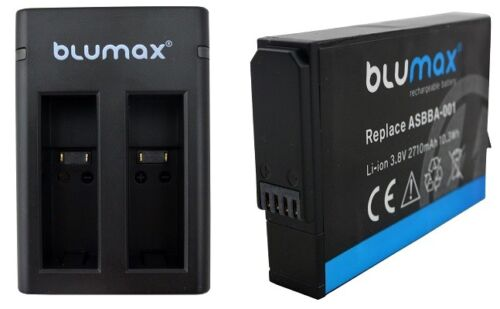 Blumax Charger and Battery for GOPRO Fusion ASBBA-001 as Set