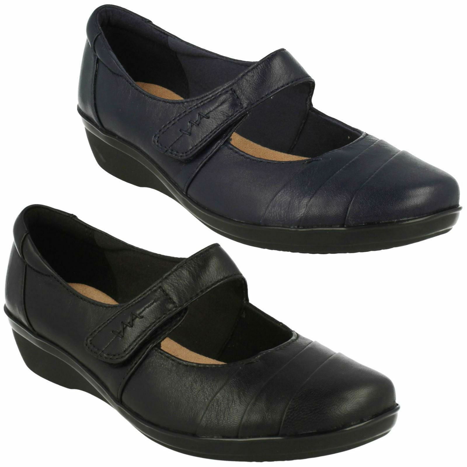 EVERLAY EVERLAY EVERLAY KENNON LADIES CLARKS RIPTAPE STRAP MARY JANE CASUAL WEDGE HEEL Schuhe 413ad2