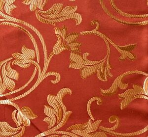 1-YARD-JACQUARD-DARK-RED-FLORAL-DESIGN-DRAPERY-amp-UPHOLSTERY-FABRIC