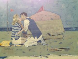 Gouache-Illusration-12-034-x-18-034-Couple-Kissing-on-the-Beach-Paul-C-Burns